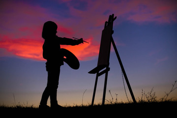 Painter in Sunset