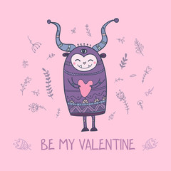 Illustration of monster with heart, be my Valentine