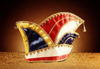 Carnival Jester Hat on Glittery Platform