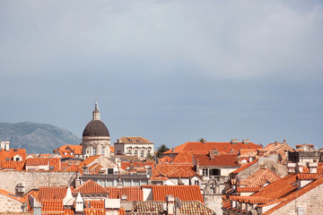 View on Dubrovnik Old town's beautiful rooftops on sunny day