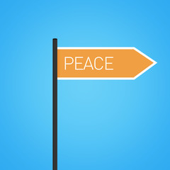 Peace nearby, flat orange road sign