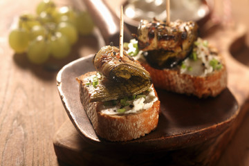 Gourmet Toasted Bread with Roasted Rolled Fish