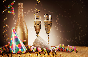 Festivity Concept - Party Hat, Wines and Streamers