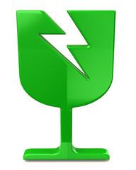 Green fragile icon on white background