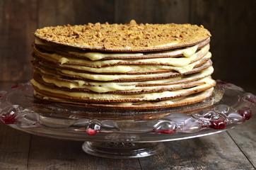 Layered honey cake with custard.