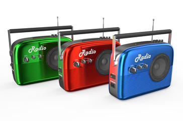 three  colored radio