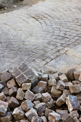 Road repairs - road with porphyry blocks