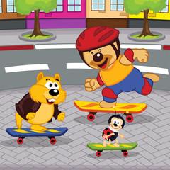 animals on skateboards - vector illustration, eps