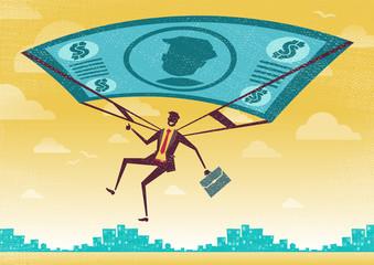 Businessman uses his Financial Dollar Bill Parachute.
