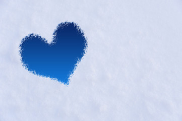 The shape of heart on the snow.