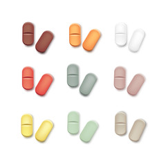 Vector Set of Multicolored Pills Isolated on White