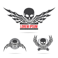Skeleton skull with wing logo emblem vector illustration element