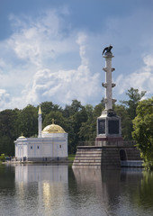 "Chesme Column and Pavilion ""Turkish bath"". Pushkin  Petersburg.."