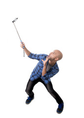 young man taking mobile phone selfie picture holding stick