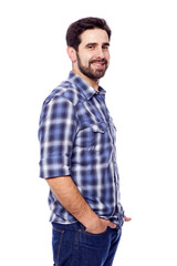 Portrait of young casual man smiling, isolated on white backgrou