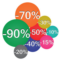 Vector icons of discounts