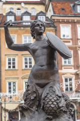 mermaid monument in the center of Warsaw