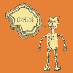 Robot on a orange background. Vector design.