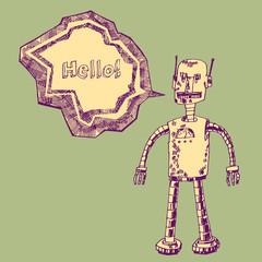 Robot on a green background. Vector design.