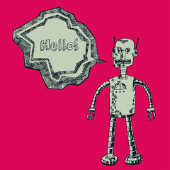 Robot on a red background. Vector design.