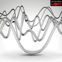 Abstract waves on a gray background. Vector design.