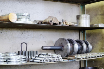 shelves with the items in the steel shop