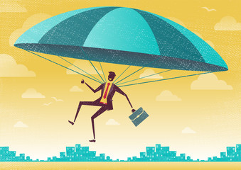 Businessman uses his Parachute.