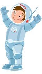Funny boy cosmonaut or astronaut
