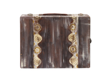 Vintage brown suitcase on white background