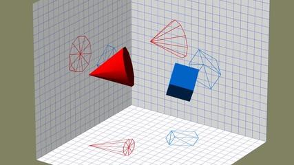 Descriptive geometry 3D projection seamless loop 4k UHD video
