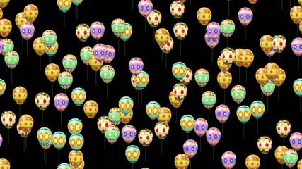 Easter eggs balloons generated seamless loop video alpha matte