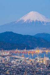 Mountain Fuji and Shimizu city in winter season