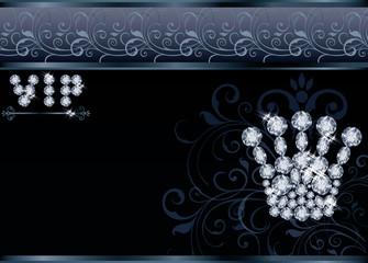 Brilliant  Queen crown VIP card, vector illustration