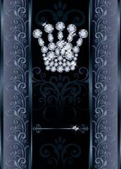 Diamond Queen crown VIP  card, vector illustration