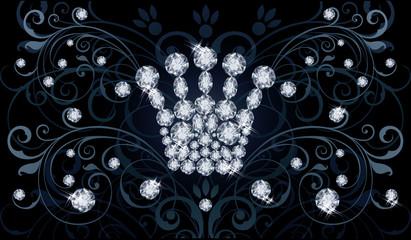 Diamond Queen crown VIP invitation card, vector illustration