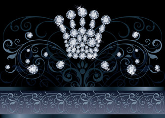 Brilliant  Queen crown VIP greeting card vector