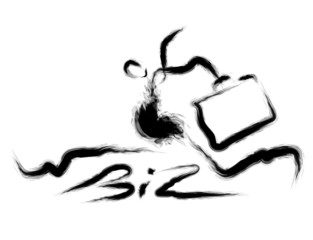 Business man holding a briefcase goes up. Calligraphy Arts Desig