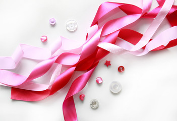 pink satin ribbon and buttons