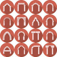 Flat icons vector collection of arch silhouette