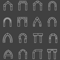 White flat line icons for archway