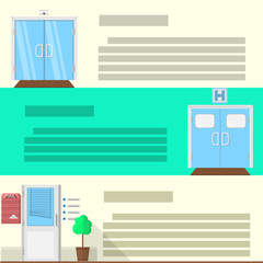 Flat color icons set for doors