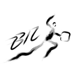 Business man is written to be powerful and jumping. Calligraphy