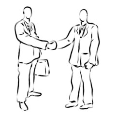 Business men shaking hands with foreign buyers. Calligraphy Arts
