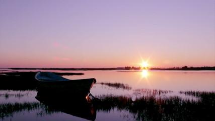 Timelapse Sunset in Faro waterfront park. Algarve