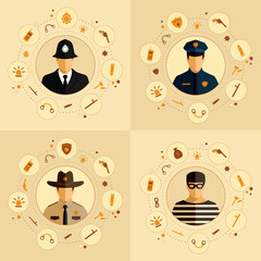 vector security icon, police background, law, crime