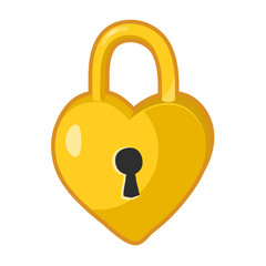 Padlock heart shaped lock isolated illustration