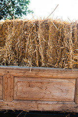 stack of bale hay straw