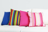 Fototapety White sofa with colorful pillows in room