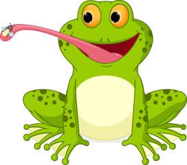 Happy frog cartoon catching fly