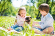 canvas print picture - Children in park with pet